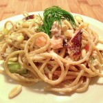 Smoked Salmon & Asparagus Spaghetti with Pine Nuts